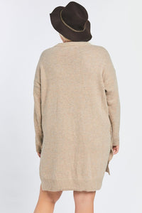 SOLID LONG SLEEVE ROUND NECK SWEATER DRESS