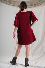 Load image into Gallery viewer, RIBBED ROUND NECK LANTERN SLEEVE DRESS