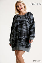 Load image into Gallery viewer, PLUS French Terry Camo Print Raw Edged Dress