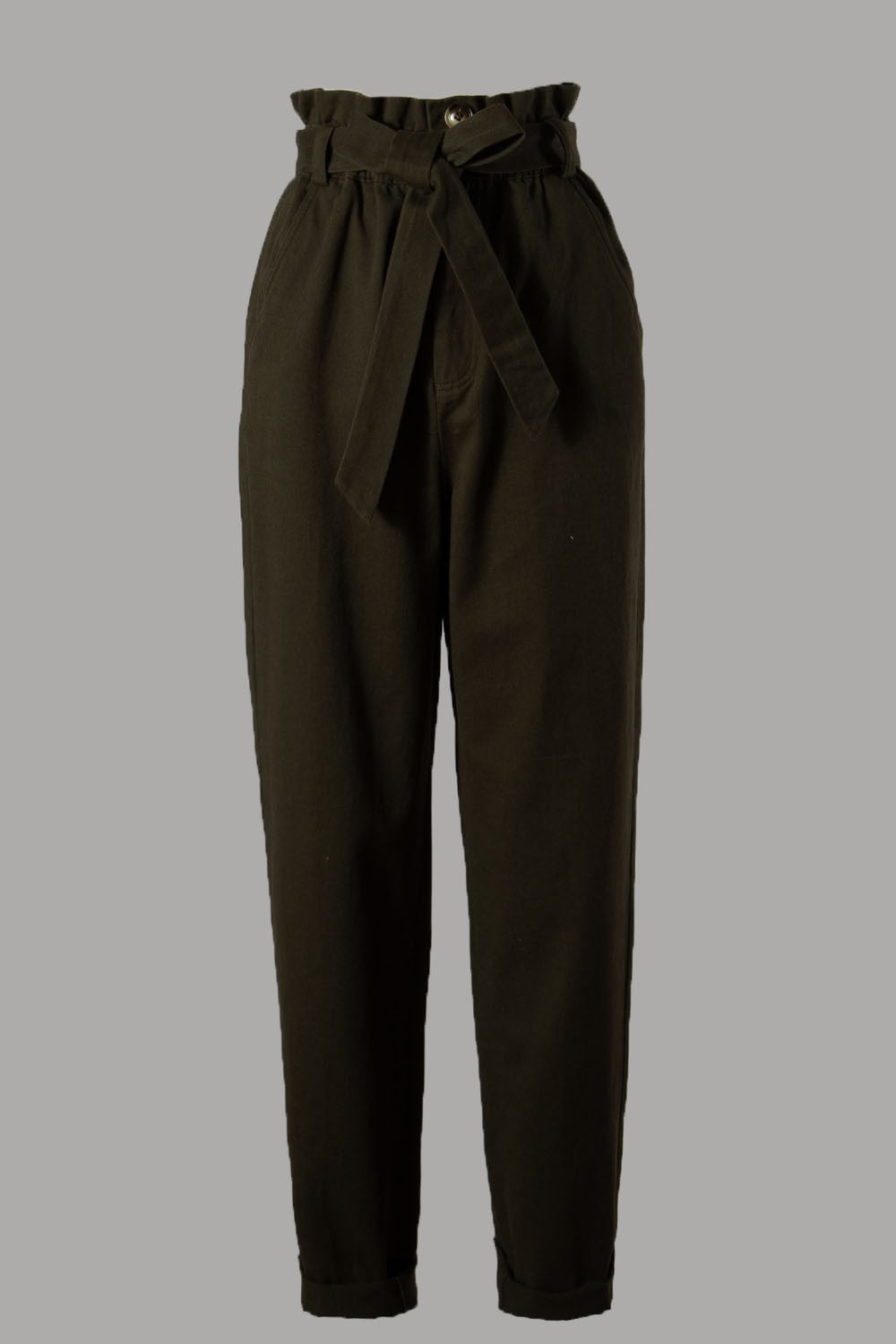 PAPER BAG BELTED WOVEN PANTS