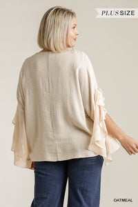 Linen Blend Long Split Ruffle Hem Sleeve Top