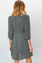 Load image into Gallery viewer, PLUS 3/4 SLEEVE ROUND NECK DOT PRINTED DRESS