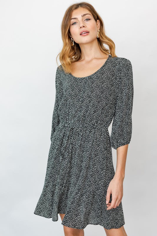PLUS 3/4 SLEEVE ROUND NECK DOT PRINTED DRESS