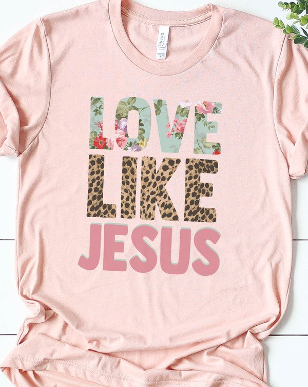 Love like Jesus leopard and floral print tee