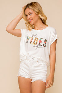 GOOD VIBES FLORAL PRINTED KNIT TOP GRAPHIC TEE