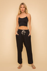 DRAWSTRING DETAILED ELASTIC WAIST PULL ON TROUSERS