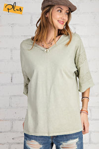 SHORT SLVS MINERAL WASHED LOOSE FIT TOP