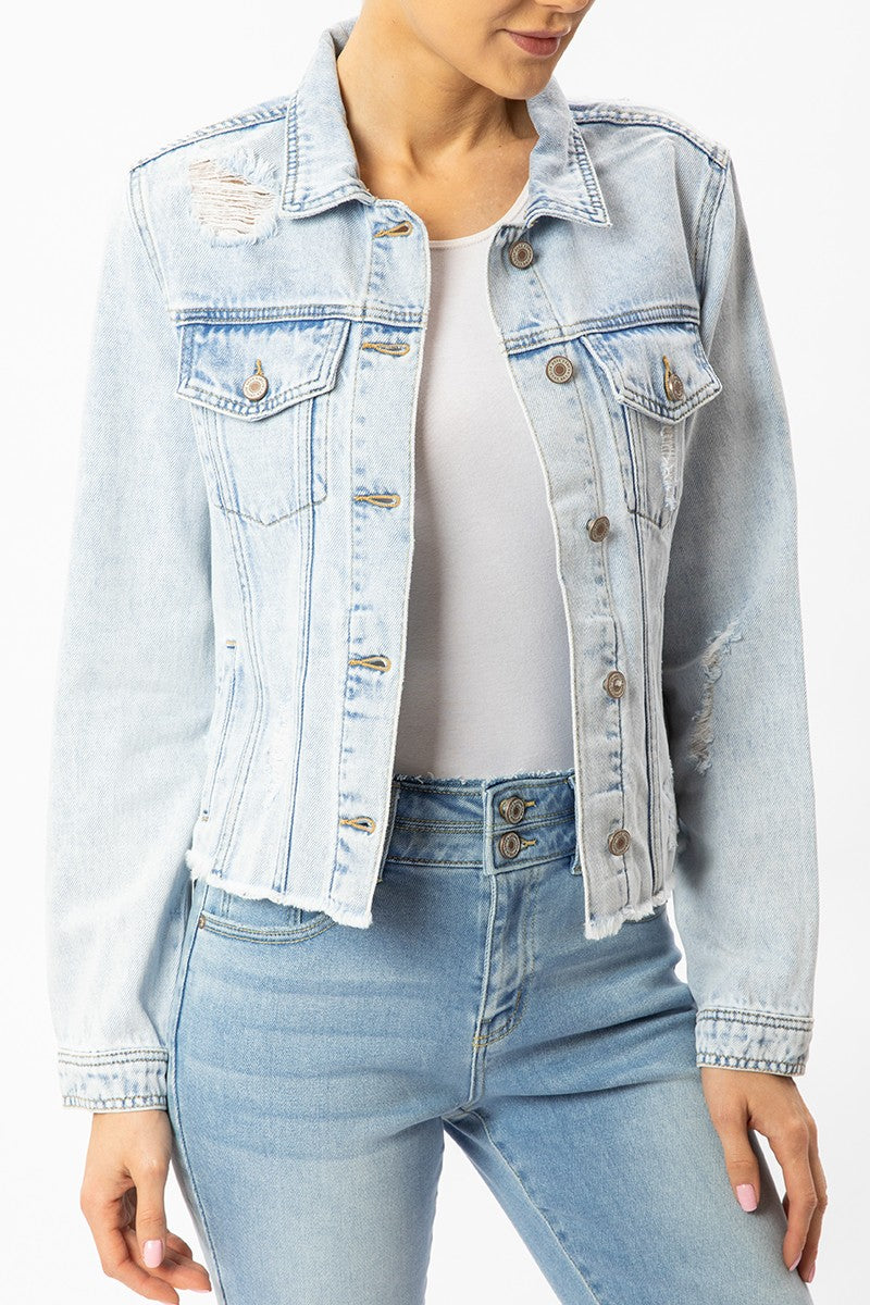 DISTRESSED DENIM JACKET WITH FRAY HEM