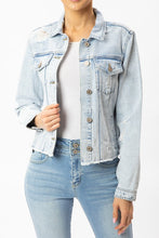Load image into Gallery viewer, DISTRESSED DENIM JACKET WITH FRAY HEM