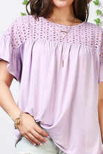 Load image into Gallery viewer, Plus Size Eyelet Yoke With Ruffle Sleeve Babydoll Style Top