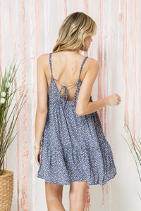 Polka Dot Tiered Mini Dress with Back Tie Detail