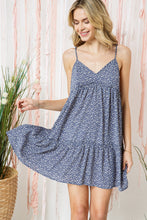 Load image into Gallery viewer, Polka Dot Tiered Mini Dress with Back Tie Detail