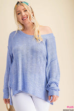Load image into Gallery viewer, ROUND NECK LONG SLEEVE 2TONS YARN SWEATER
