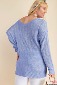 ROUND NECK LONG SLEEVE 2TONS YARN SWEATER
