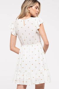 Tone on Tone Dotted Print Dress
