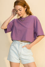 Load image into Gallery viewer, DROP SHOULDER 1/2 SLEEVE CROP TOP WITH POCKET