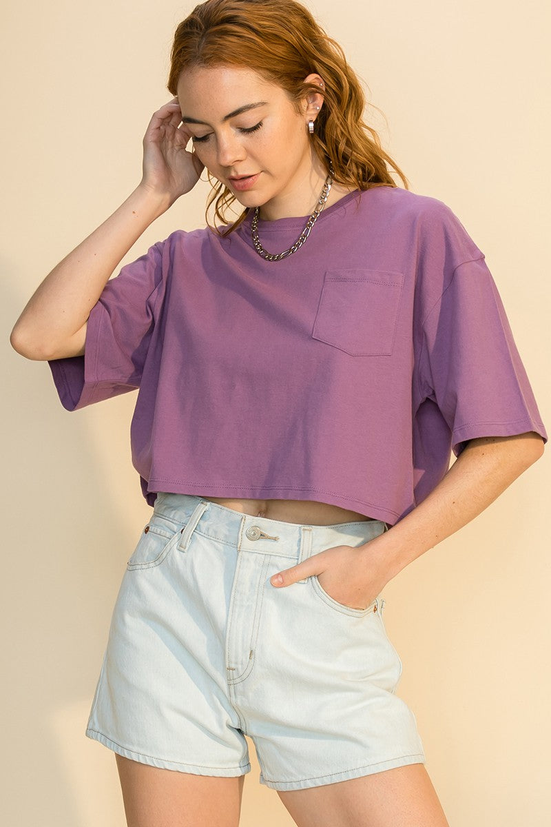 DROP SHOULDER 1/2 SLEEVE CROP TOP WITH POCKET