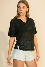 Load image into Gallery viewer, NOTCH NECK SPLIT HEM SOLID TEE