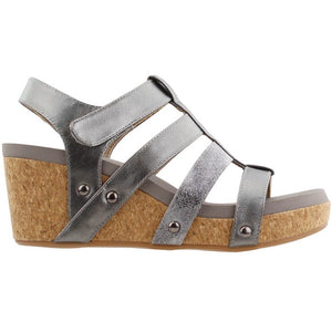 Pewter Strappy Wedge