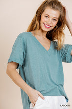 Load image into Gallery viewer, Short Gathered Sleeve Slub Knit V-Neck Top with Side Slits