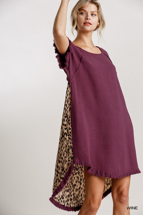 Short Sleeve Round Neck Animal Print Back Dress with High Low Fishtail Scoop Ruffle Hem