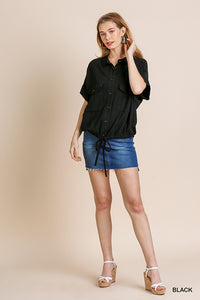 Short Sleeve Button Front Collared Top with Chest Pockets and Waist Tie