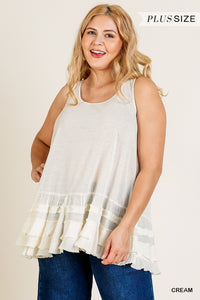 Sleeveless Round Neck Tank Top with Ruffle Fabric Hem