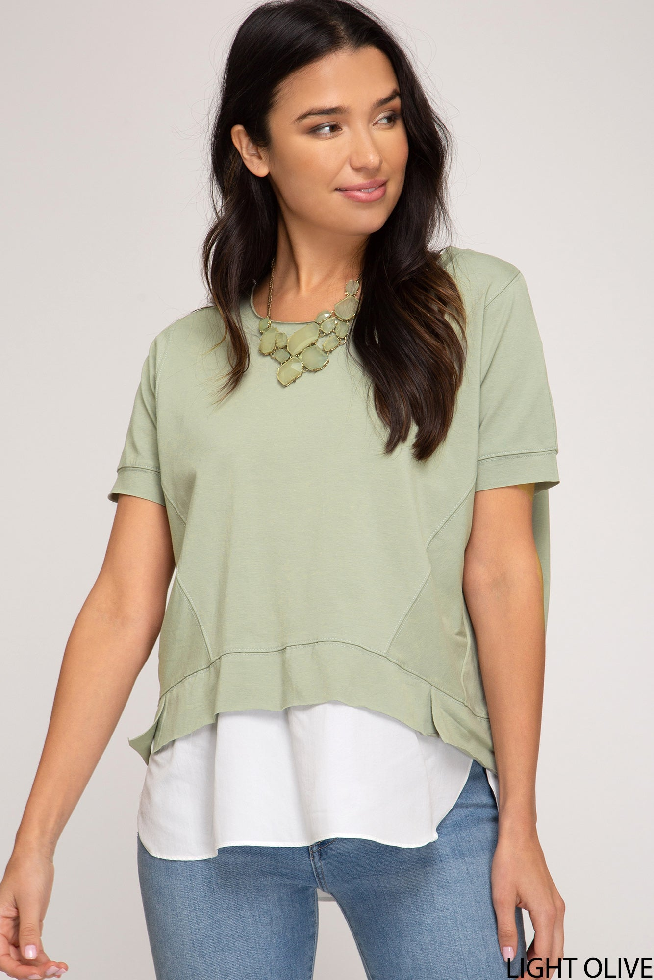 DOLMAN SLEEVE KNIT TOP WITH CONTRAST WOVEN SHIRT HEM