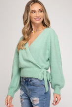Load image into Gallery viewer, LONG SLEEVE FRONT WRAP KNIT SWEATER TOP WITH SIDE TIE DETAIL