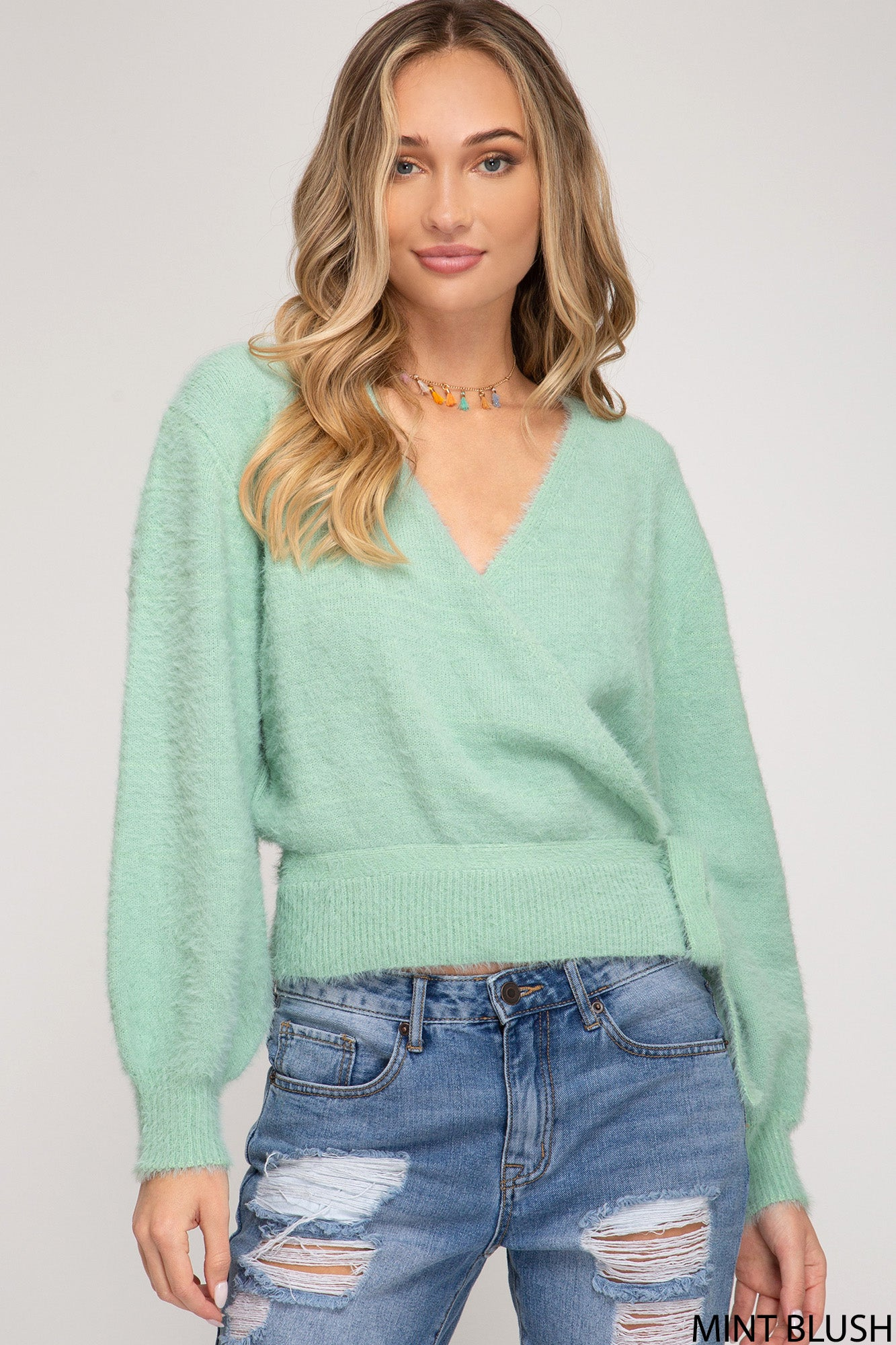 LONG SLEEVE FRONT WRAP KNIT SWEATER TOP WITH SIDE TIE DETAIL