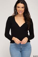 Load image into Gallery viewer, LONG SLEEVE SURPLICE KNIT SWEATER TOP