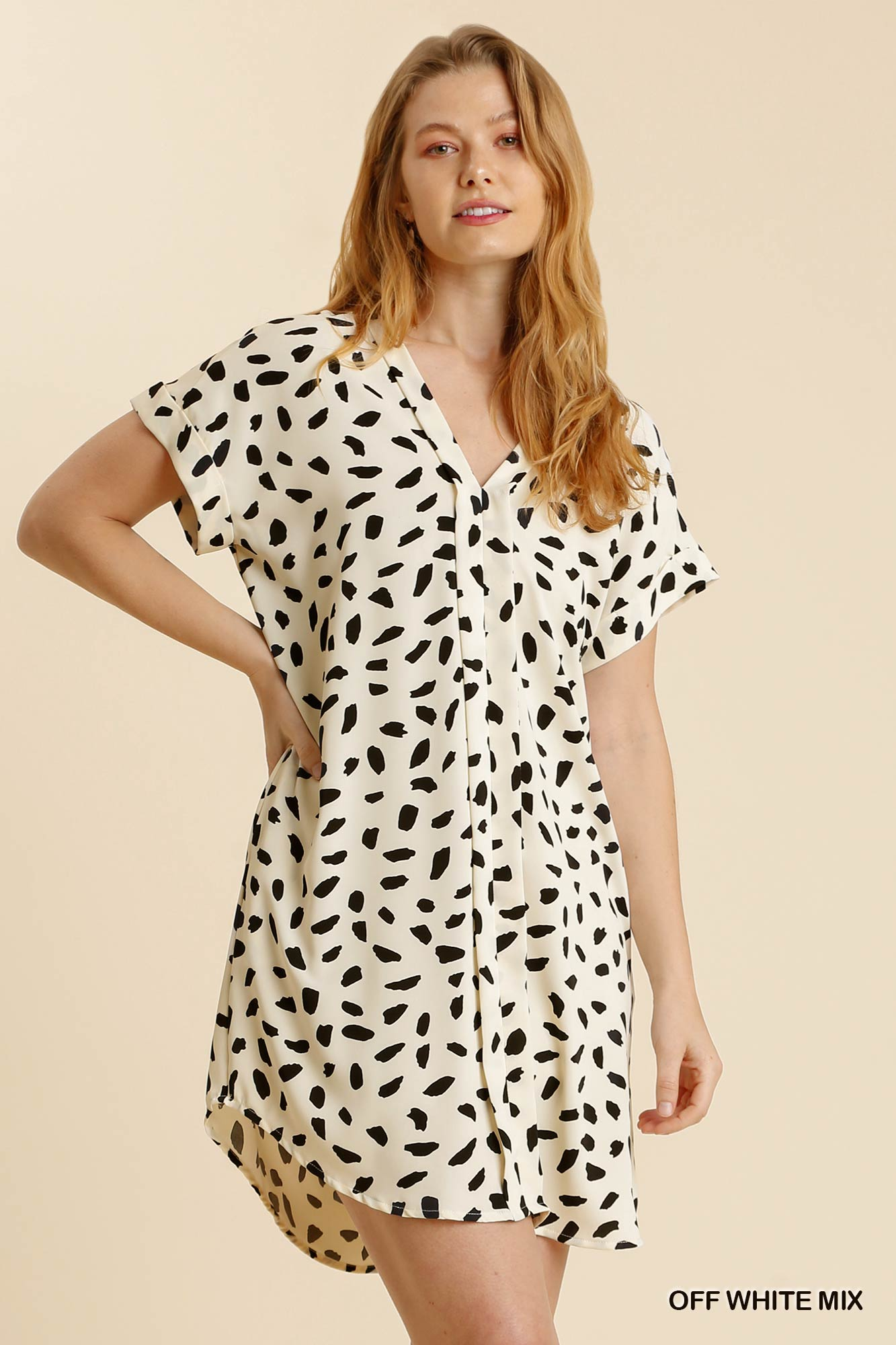 V Neck Dalmatian Print Dress with Folded Lapel Details and Pockets