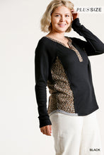 Load image into Gallery viewer, Animal Print Trim Waffle Knit Half Button Top with Raw Edges