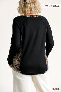 Animal Print Trim Waffle Knit Half Button Top with Raw Edges
