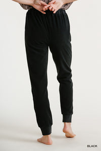 Mineral Washed French Terry Elastic Waist and Drawstring Jogger Pants with Pockets