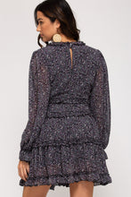 Load image into Gallery viewer, LONG SLEEVE PRINTED WOVEN TIERED DRESS WITH RUFFLE DETAILS