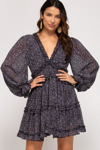 LONG SLEEVE PRINTED WOVEN TIERED DRESS WITH RUFFLE DETAILS