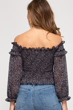 Load image into Gallery viewer, LONG SLEEVE OFF THE SHOULDER WOVEN PRINTED SMOCKED TOP