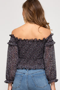 LONG SLEEVE OFF THE SHOULDER WOVEN PRINTED SMOCKED TOP