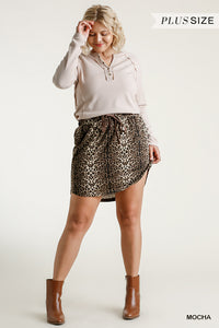 Animal Print Elastic Waist and Drawstring Skirt with Pockets