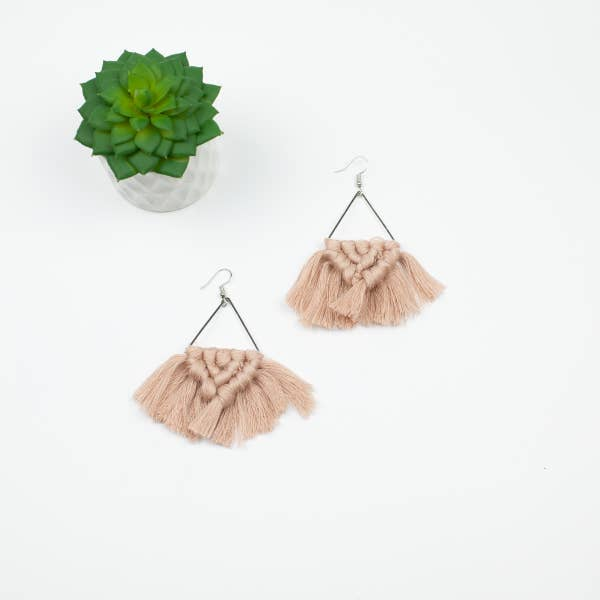Blush & Silvertone Macrame Boho Style Earrings