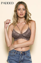 Load image into Gallery viewer, Lace V Nk Double X Bk W/Diamond Effect Bralette PADDED