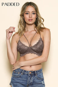 Lace V Nk Double X Bk W/Diamond Effect Bralette PADDED