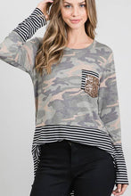 Load image into Gallery viewer, LONG SLEEVE ROUND NECK CAMO AND STRIPE PRINT CONTRAST TOP