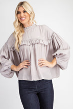 Load image into Gallery viewer, Round Neck Ruffled Blouse