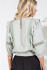 Ruffled Lace Trim Blouse