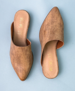 Sleek Tan Mules