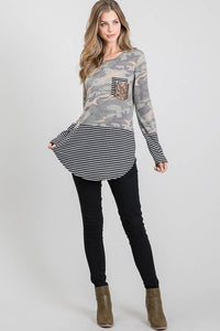 LONG SLEEVE ROUND NECK CAMO AND STRIPE PRINT CONTRAST TOP
