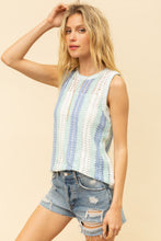 Load image into Gallery viewer, OPEN CROCHET VERTICAL STRIPE SWEATER TANK TOP