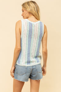 OPEN CROCHET VERTICAL STRIPE SWEATER TANK TOP